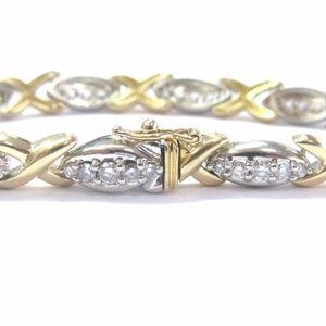 Jewelry - Fine Round Cut Diamond 2-Tone X Tennis Bracelet 14